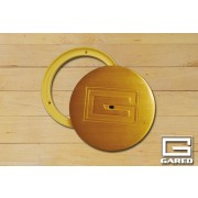 """6 1/4"""" Outside, 5"""" Inside Diameter Cover Plate with Lock, Brass"""